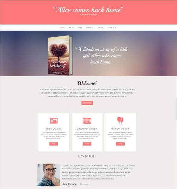 flat website template for book authors