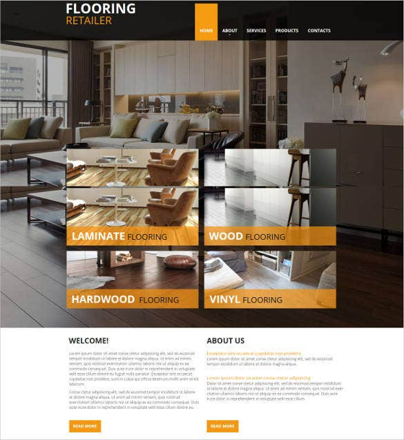 flooring website template with creative design