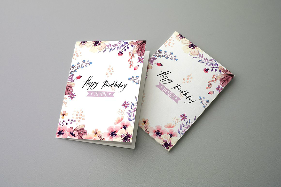 floral birthday card psd
