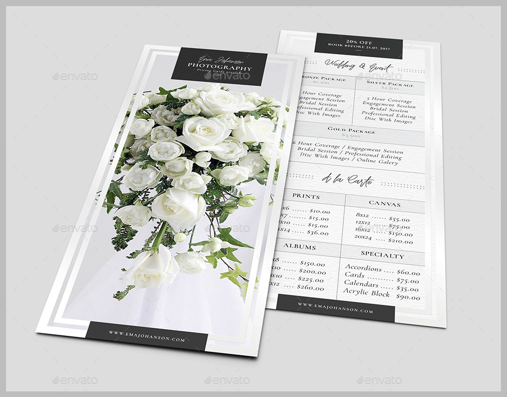 floral photography rack card template