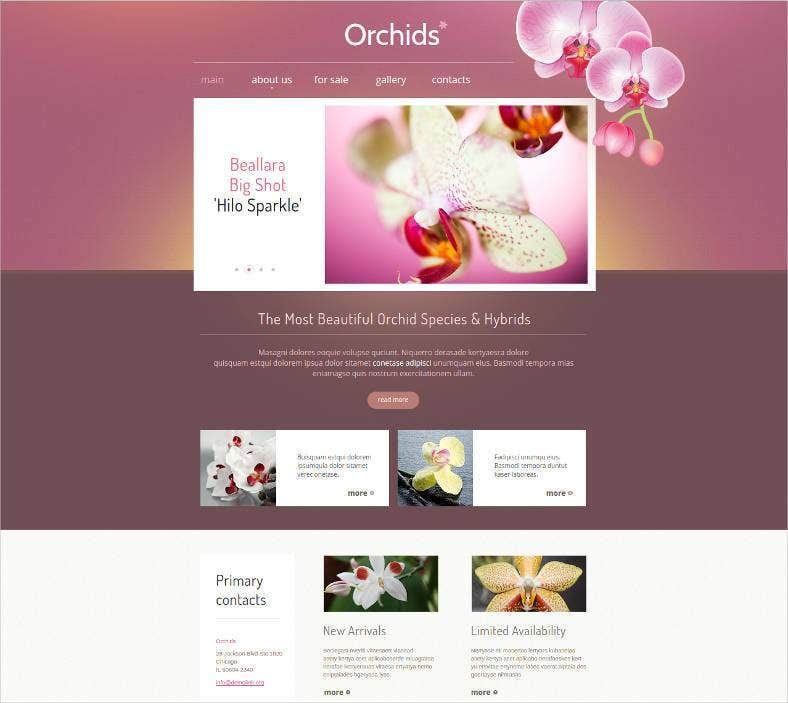 florists website template theme 788x703