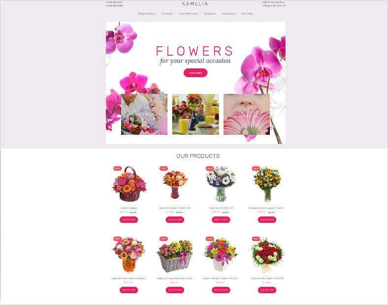 flowers ecommerce website template 788x620