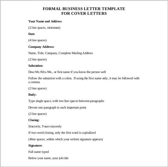 formal business letter free pdf template download