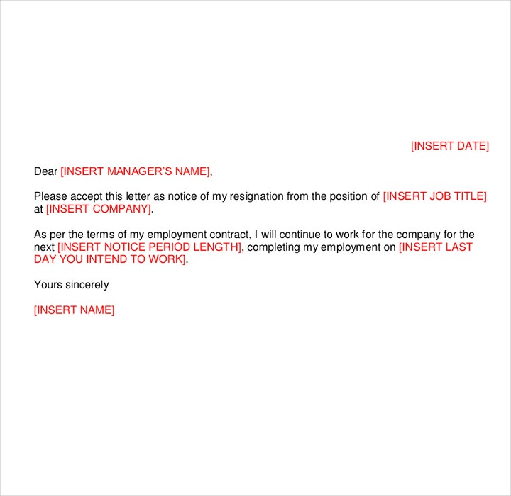 9+ Short Notice Resignation Letters - Free PDF, DOC Format Downloads