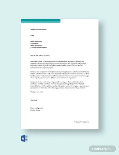 self promotion cover letter examples