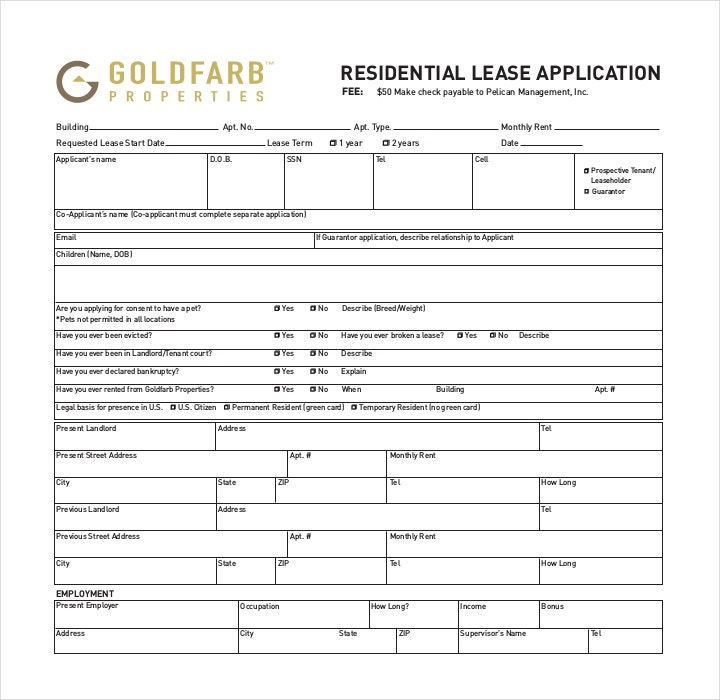 Free Residential Lease Application Form