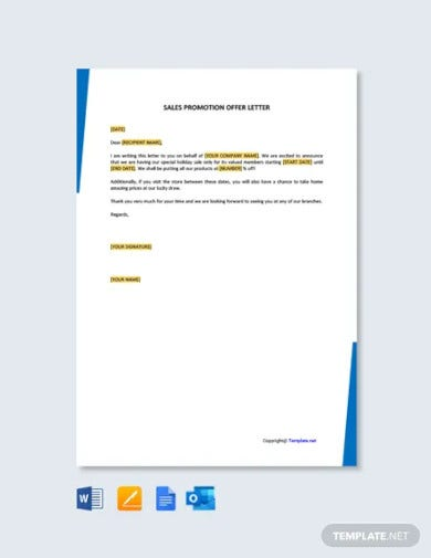 free sales promotion offer letter