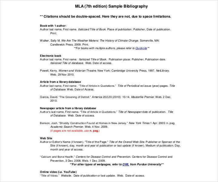 Free Sample MLA Bibliography 7th Edition