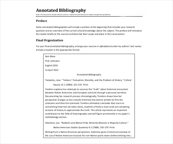 Free Simple Annotated Bibliography Template