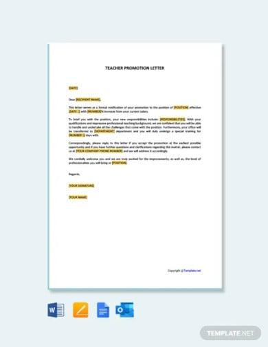 free teacher promotion letter
