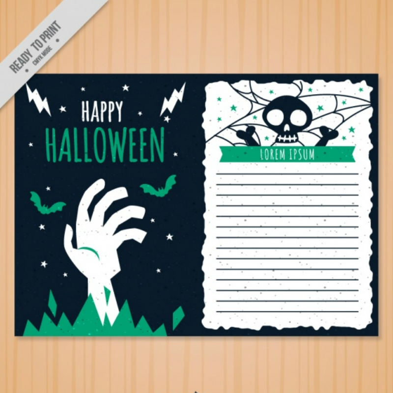free vector halloween greeting card design template