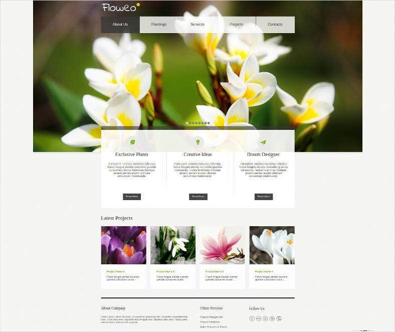 fresh flowers website template 788x662