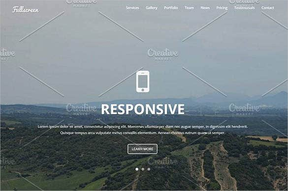 fullscreen single landing page template
