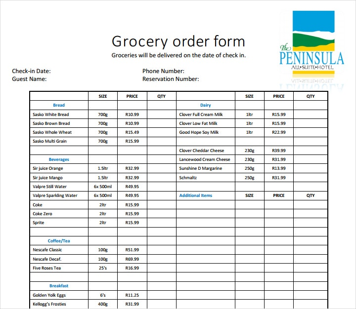Grocery Order Sample Form
