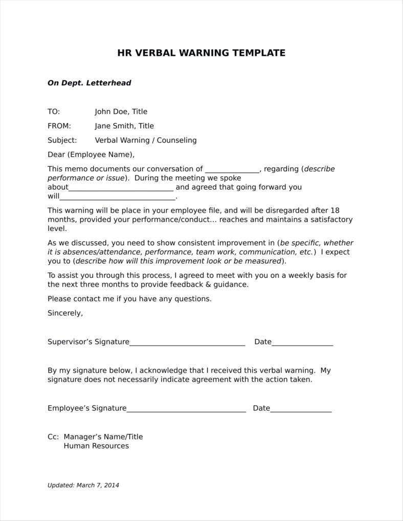 9 Verbal Warning Follow Up Letter Templates Free