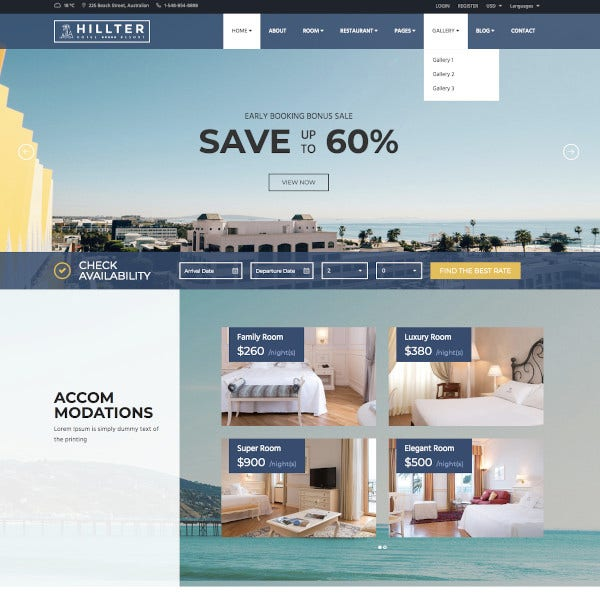 hotel booking drupal theme