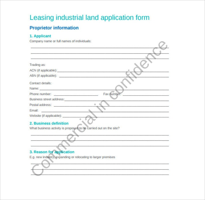 industrial land lease application
