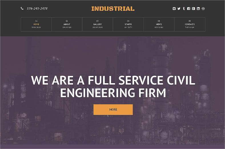 industrial responsive one page theme 788x524