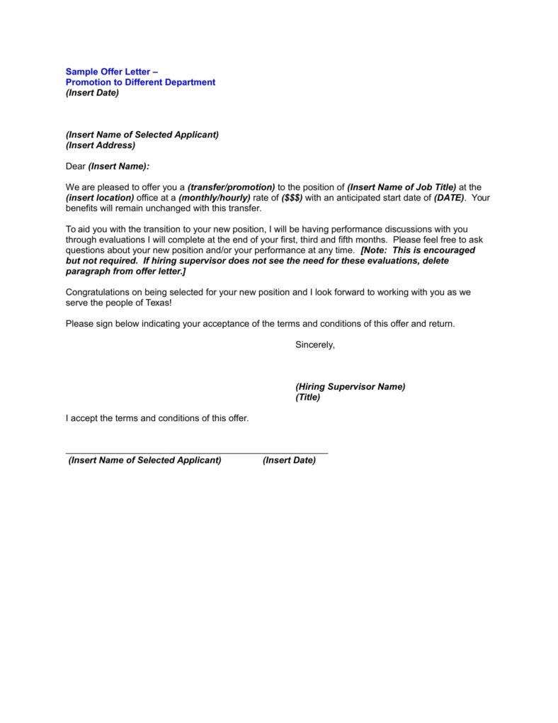 Internal Promotion Announcement Offer Letter  Announcement Letter Sample Format