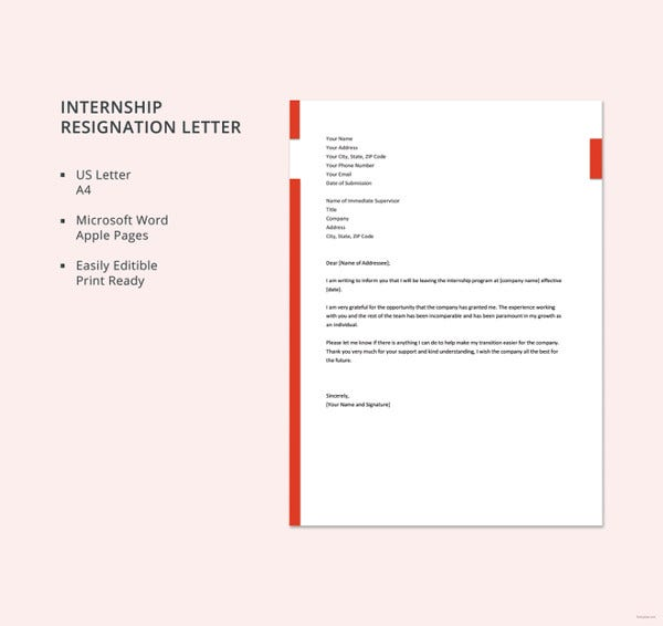 Great Internship Resignation Letter Template
