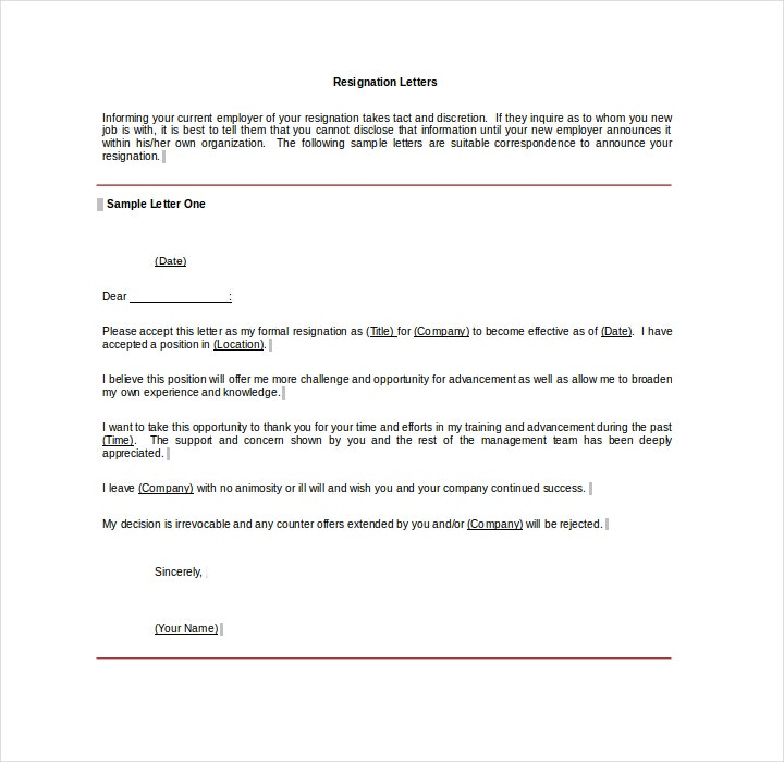 6 job resignation letter templates free pdf word format download