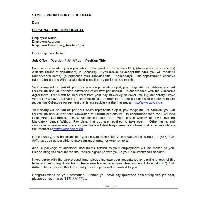 Job Promotion Offer Announcement Letter Template
