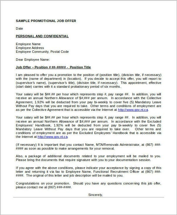 job promotion offer letter template