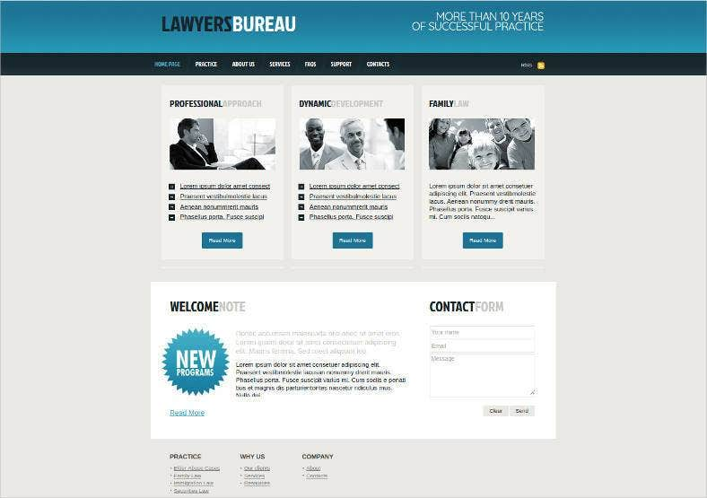 lawyer bureau website template with cms 788x555
