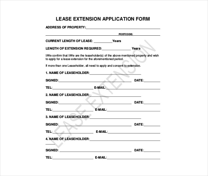 Lease Extension Application