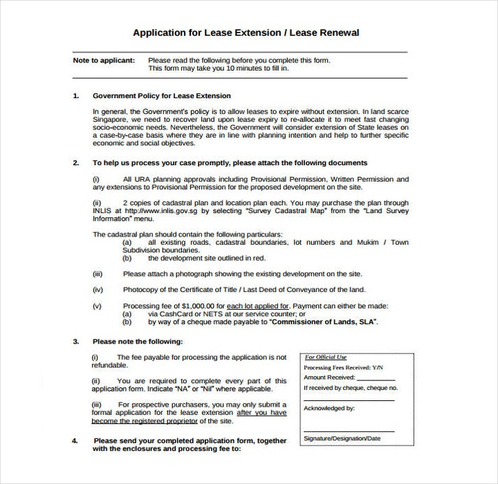 Lease Renewal Extension Application