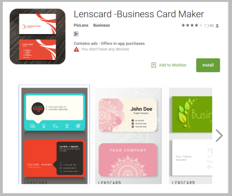 lenscard business card maker 788x667