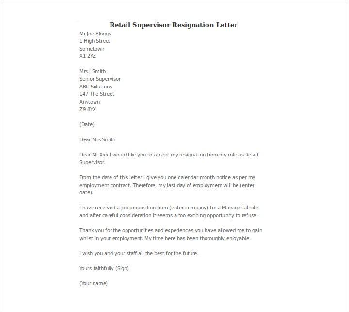 letter-for-retail-supervisor-resignation