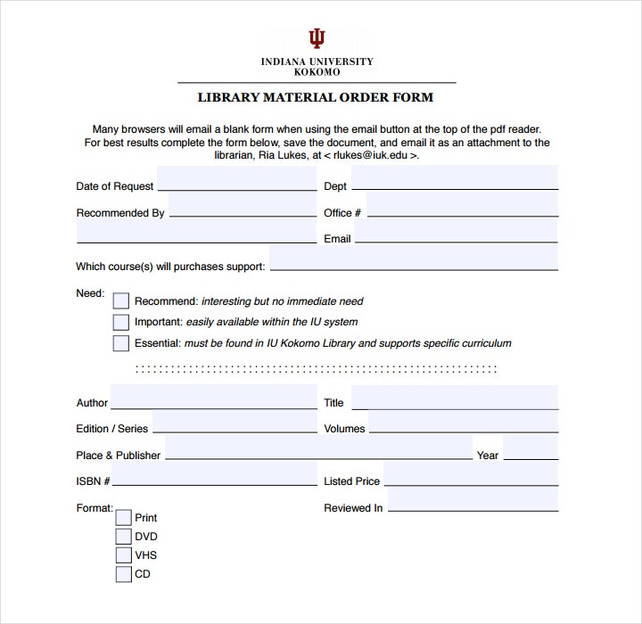 Material Order Form Templates  Free Pdf Word Format Download