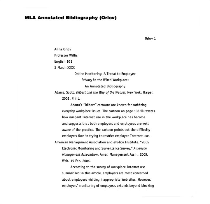 Mla annotated bibliography worksheet