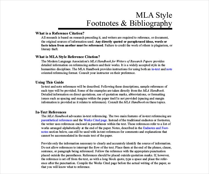 MLA Style Footnotes and Bibliography Template Free