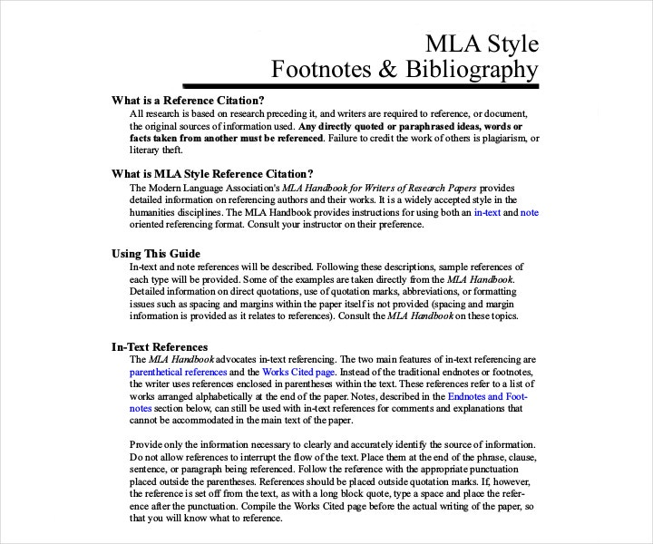 MLA Style Footnotes and Bibliography Template