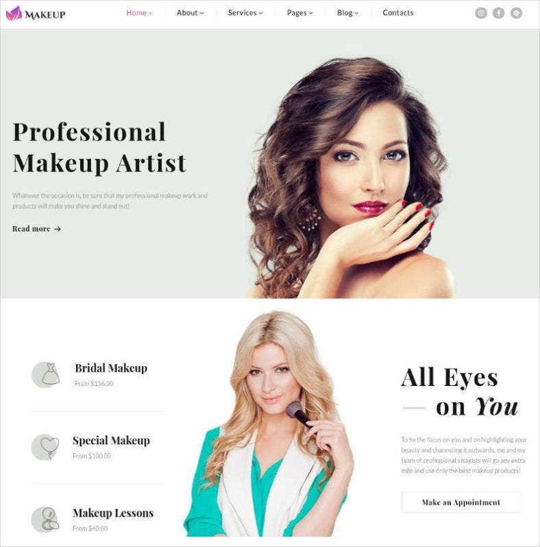 Makeup Artist Cosmetics Responsive Website Theme 788x798