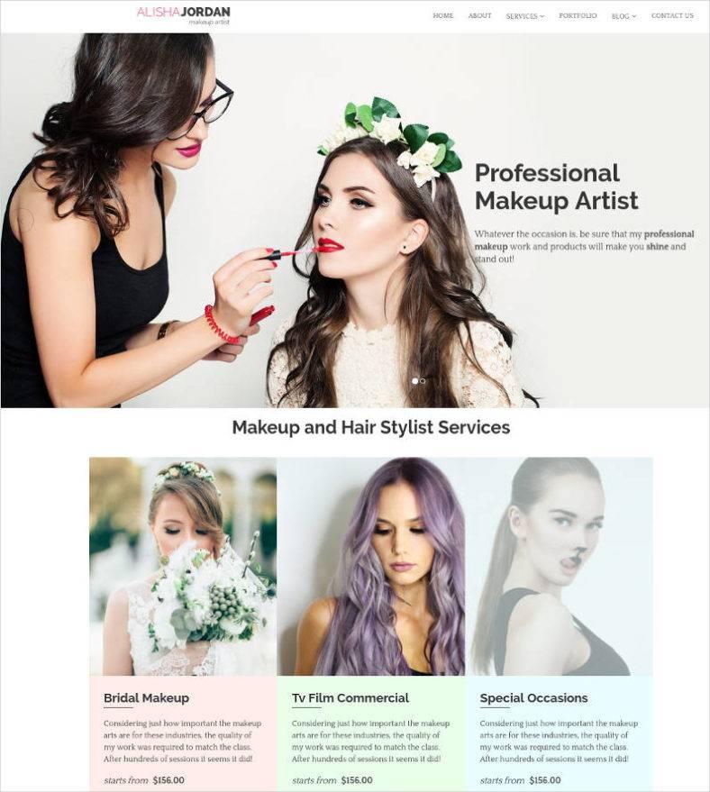 makeup artist responsive template 788x879