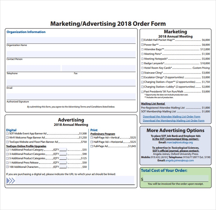 Advertising Order Form Template