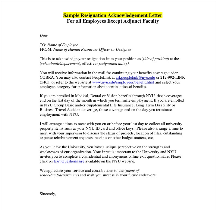Medical Acknowledgement Resignation Letter