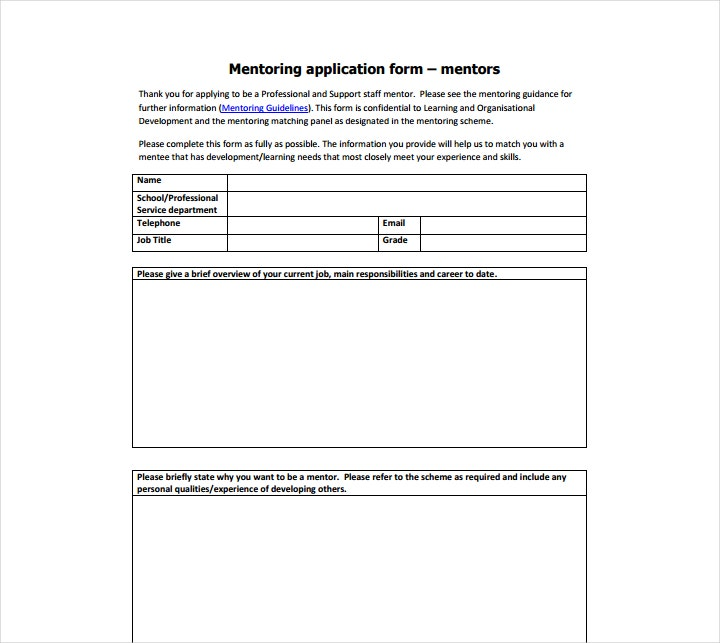 11 mentor application form templates free word pdf for Mentoring application templates