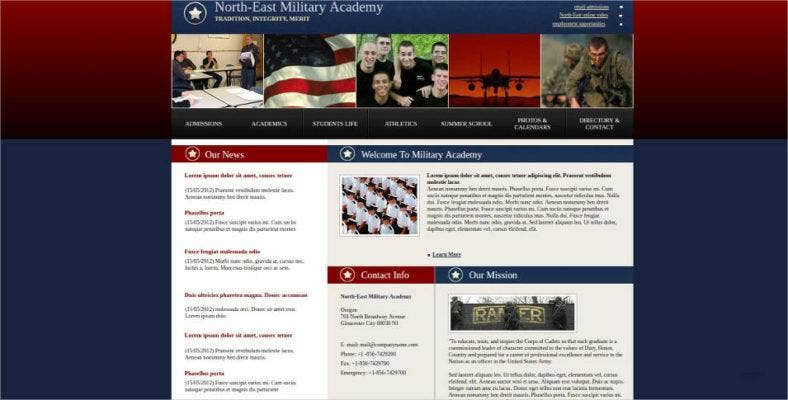 military academy web template 788x400