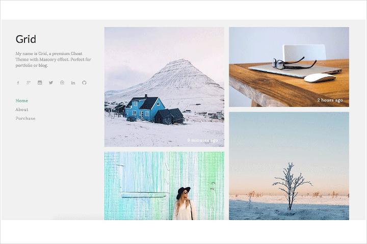 Minimal Grid Blog Theme