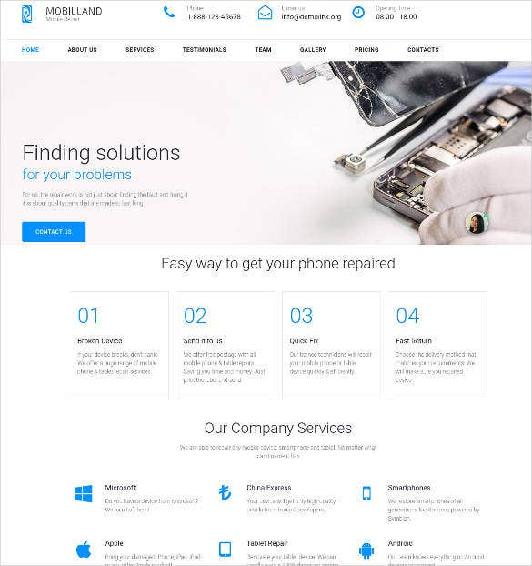 mobile repair services motocms website