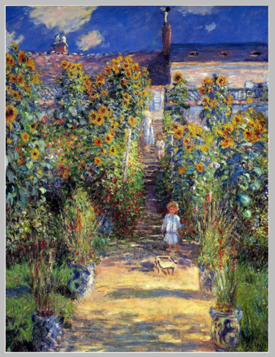monet painting artistic post card