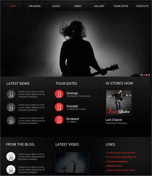 music band and singer website template