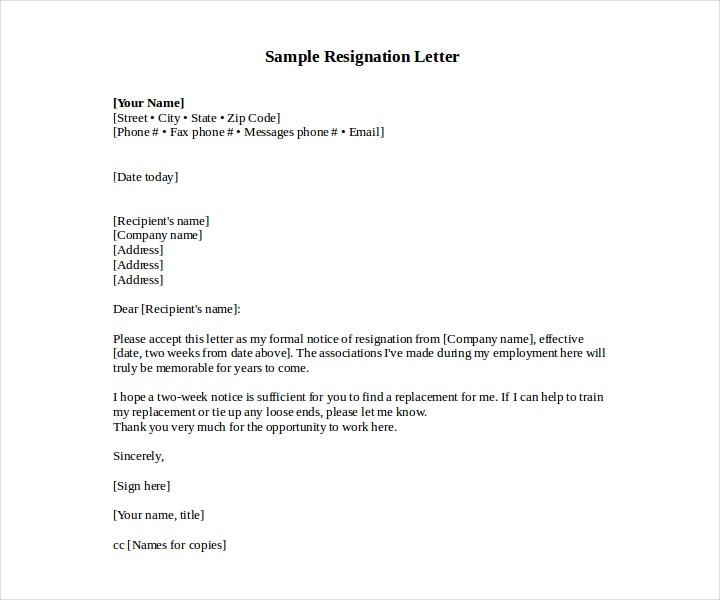 New Job Resignation Letter Format
