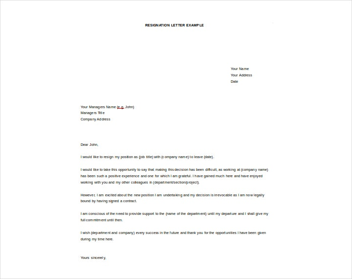 New Job Resignation Letter Free