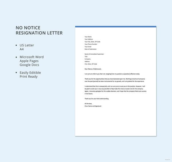 no-notice-resignation-letter-template