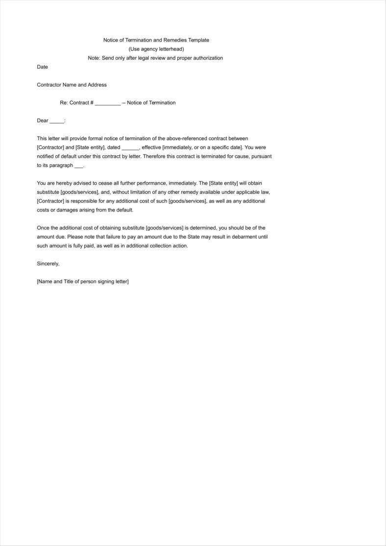 how to write a termination letter to a company clinical